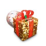 Weihnachten- und neues Jahr ` s Tagesgoldene Geschenkboxen, Geschenkboxen Whit Lizenzfreies Stockbild