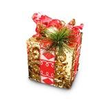 Weihnachten- und neues Jahr ` s Tagesgoldene Geschenkboxen, Geschenkboxen Whit Lizenzfreie Stockbilder
