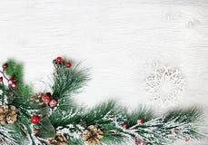 Weihnachten- und neues Jahr ` s Zusammensetzung Die Kiefernkegel, Fichtenzweige auf einem hölzernen weißen Hintergrund Stockbilder
