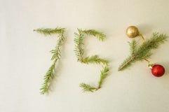 Weihnachten- und neues Jahr Special 75% weg vom Rabattförderungsverkauf Stockbild
