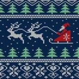 Weihnachten und neues Jahr strickten nahtloses Muster oder Karte Lizenzfreies Stockbild
