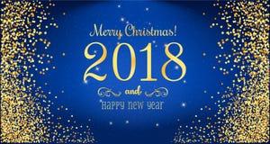 Weihnachten 2018 und neues Jahr typografisch auf blauem Hintergrund mit Goldfeuerwerk Stockfotografie
