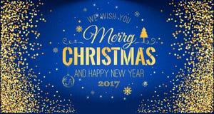Weihnachten 2017 und neues Jahr typografisch auf blauem Hintergrund mit Goldfunkelnbeschaffenheit Vektorillustration für goldenen Lizenzfreie Stockfotos