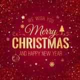 Weihnachten und neues Jahr typografisch auf rotem Hintergrund Lizenzfreie Stockbilder