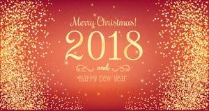 Weihnachten 2018 und neues Jahr typografisch auf rotem Hintergrund mit Goldfeuerwerk Abbildung innen Lizenzfreie Stockfotos