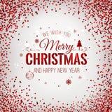 Weihnachten 2017 und neues Jahr typografisch auf rotem Hintergrund mit Goldfeuerwerk Abbildung innen Stockbilder