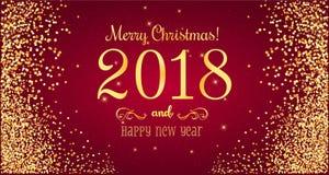 Weihnachten 2018 und neues Jahr typografisch auf rotem Hintergrund mit Goldfeuerwerk Abbildung innen Stockbilder