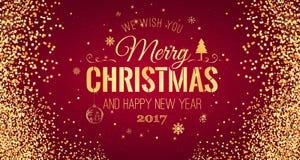 Weihnachten und neues Jahr typografisch auf rotem Hintergrund mit Goldfunkelnbeschaffenheit Vektorillustration für goldenen Hinte Lizenzfreies Stockfoto