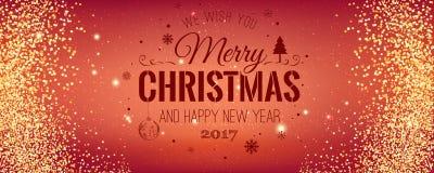 Weihnachten und neues Jahr typografisch auf rotem Hintergrund mit Goldfunkelnbeschaffenheit Vektorillustration für goldenen Hinte Stockfoto