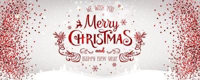 Weihnachten und neues Jahr typografisch auf weißem Hintergrund mit Goldfunkelnbeschaffenheit Auch im corel abgehobenen Betrag Lizenzfreies Stockfoto