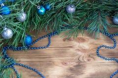 Weihnachten und neues Jahr verzieren Dekorationshintergrund mit Kopie Stockfotos