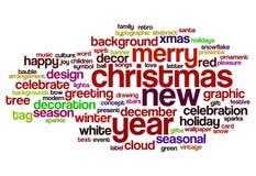 Weihnachten und Wortwolke des neuen Jahres Lizenzfreies Stockfoto