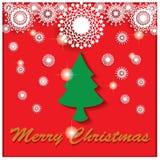 Weihnachten unter weißen Schneeflocken Stock Abbildung