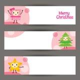 Weihnachten verziert Charakter-Design-Fahne Lizenzfreie Stockfotografie