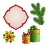 Weihnachten verziert den Clipart, der auf weißem Hintergrund, Feriengeschenkgestaltungselemente, Illustration lokalisiert wird Stockfoto