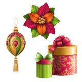 Weihnachten verziert den Clipart, der auf weißem Hintergrund, Feriengeschenkgestaltungselemente, Illustration lokalisiert wird Stockfotografie