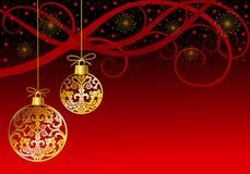 Weihnachten verziert Kugeln auf Rot Lizenzfreies Stockfoto