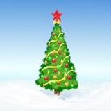 Weihnachten verzierte Baumschnee-Feiertagsvektor Stockbilder