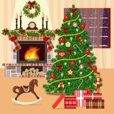 Weihnachten verzierte Raum mit Weihnachtsbaum, -kamin und -fenster Flache Art Lizenzfreies Stockfoto