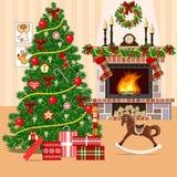 Weihnachten verzierte Raum mit Weihnachtsbaum und Kamin Flache Art Lizenzfreies Stockbild