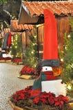 Weihnachten verzierte Straße in Madeira nachts Lizenzfreie Stockbilder
