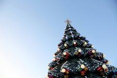 Weihnachten verzierte Weihnachtsbaum auf dem Hintergrund des blauen Himmels Stockbilder
