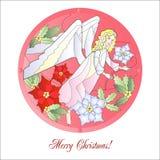 Weihnachten-Vitrail-Rot mit Engel Lizenzfreie Stockfotos