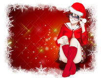 Weihnachten, Weihnachtsmann-Frauen Hintergrund Lizenzfreie Stockbilder