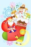 Weihnachten wendet mit Weihnachtsmann, Socken und Kartenband - kreative Illustration eps10 ein Lizenzfreie Stockfotos