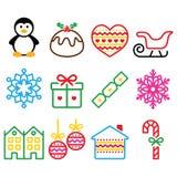 Weihnachten, Winterikonen mit Schlagmann - Pinguin, Weihnachtspudding Lizenzfreies Stockfoto