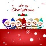 Weihnachten, zwergartige, bunte Weihnachtsmann-Karikatur in der Wintersaison lizenzfreie abbildung