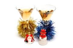 Weihnachtenchampagner- und Weihnachten-Baumdekorationen Lizenzfreie Stockfotos