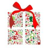Weihnachtengiftbox gebildet mit Sozialmediaikonen Lizenzfreie Stockbilder