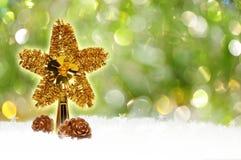 Weihnachtengrüner bokeh Hintergrund Stockfoto