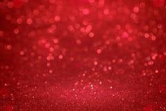 Weihnachtenroter bokeh Hintergrund Das Konzept der Liebe, Valentinsgruß Lizenzfreie Stockfotos