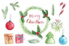Weihnachtenwatercolour Satz mit Kranz, Fichtenzweigen und Beschriftung Lizenzfreie Stockbilder