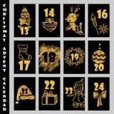 Weihnachts-Advent Calendar With Gold Glitter-Beschaffenheit Count-down zum Weihnachten Stockbild