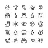Weihnachts-, Halloween-, Partei-und Feier-Linie Vektor-Ikonen 2 lizenzfreie abbildung
