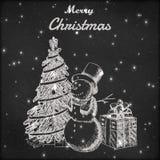 Weihnachts- oder des neuen Jahreshand gezeichnete Vektorillustration Schneemann im hohen Hut, in Weihnachtsbaum und in der Gesche Stockbild