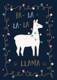 Weihnachts-oder Winterurlaub-Karte mit Lama und festlicher Licht-Girlande Lizenzfreies Stockfoto