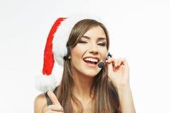 Weihnachts-Sankt-Geschäftsfrauabschluß herauf Gesichtsporträt Weißes Ba Lizenzfreie Stockfotografie