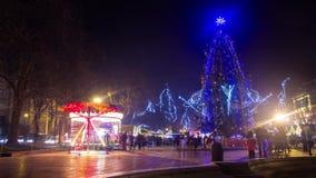 Weihnachts-treesnowy Nacht-timelapse stock footage