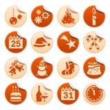 Weihnachts- u. des neuen Jahresaufkleber Stockfotografie