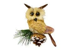 Weihnachts- und des neuen Jahresdekorationen: Figürchen der Spielzeugeule Isolat Lizenzfreies Stockfoto
