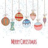 Weihnachts- und des neuen Jahreseinladungskarte Stockfotos