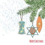 Weihnachts- und des neuen Jahreseinladungskarte Stockfotografie
