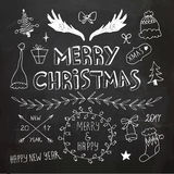 Weihnachts- und des neuen Jahresgekritzelsammlung Stockfotos
