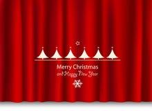 Weihnachts- und des neuen Jahresgruß auf einem roten glänzenden Vorhang Stockfotografie