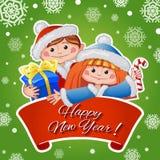 Weihnachts- und des neuen Jahresgrußkarte mit nettem Mädchen und Jungen Lizenzfreie Stockfotos