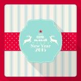 Weihnachts- und des neuen Jahresgrußkarte 2015 mit Ren Lizenzfreie Stockfotos